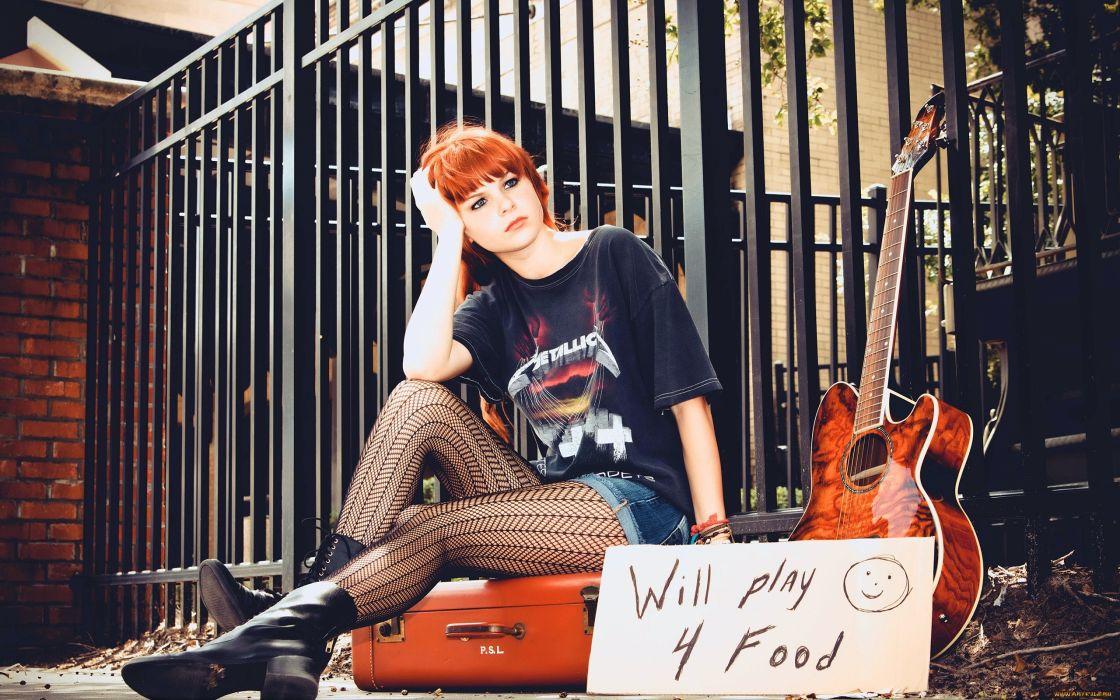 women music blue eyes redheads guitars sitting Karoline Kate models wallpaper