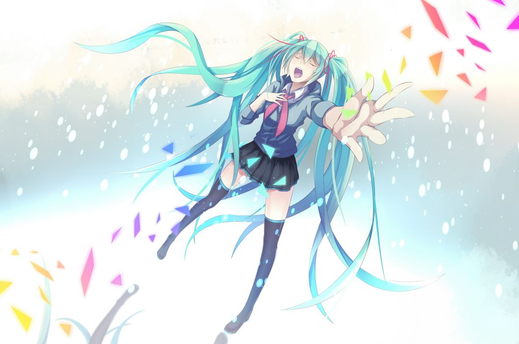 Vocaloid Hatsune Miku aqua eyes aqua hair anime girls wallpaper
