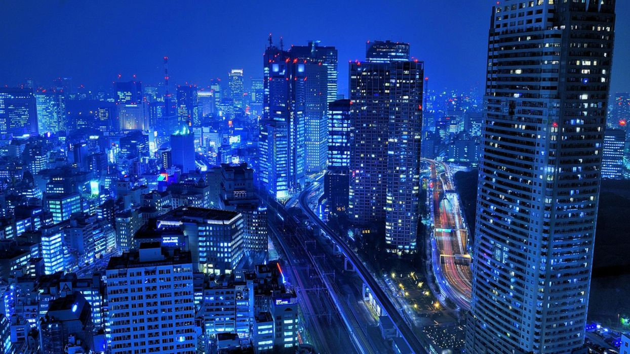 Japan Tokyo cityscapes skyscrapers roads city lights wallpaper