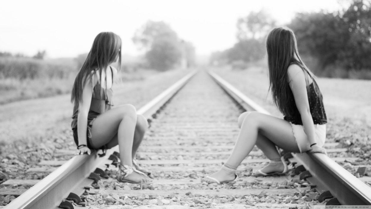 women grayscale shorts railway looking away wallpaper