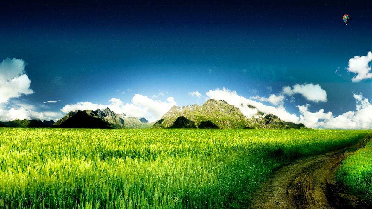 sunset mountains clouds landscapes nature Sun skylines grass fields roads wallpaper