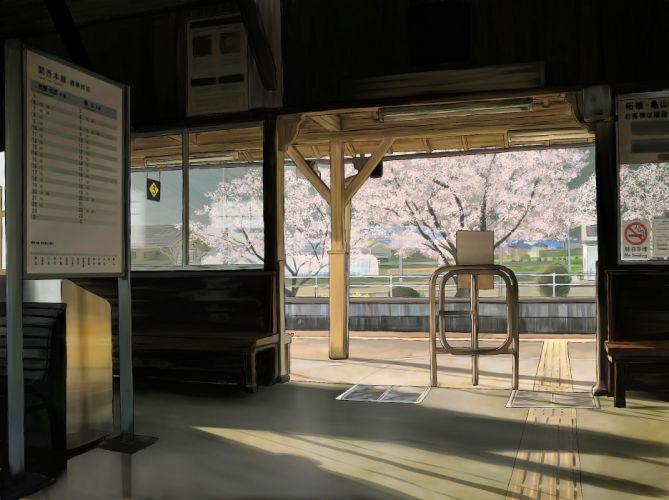 cherry blossoms Sakura Japanese spring train stations scenic no smoking drawings anime wallpaper