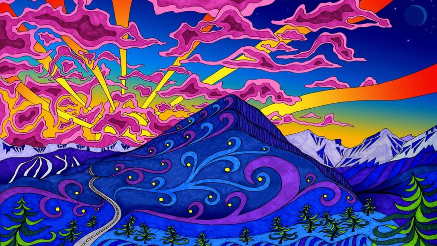 mountains landscapes psychedelic artwork colors wallpaper
