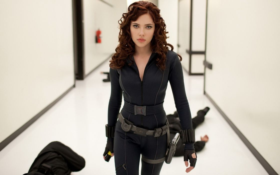 brunettes boobs women Scarlett Johansson movies actress Black Widow Natasha Romanoff Iron Man 2 tight clothing wallpaper