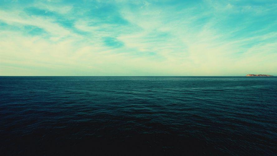 water ocean clouds simple sea wallpaper