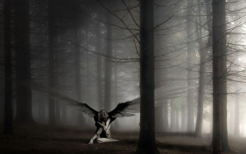angels forests fantasy art wallpaper