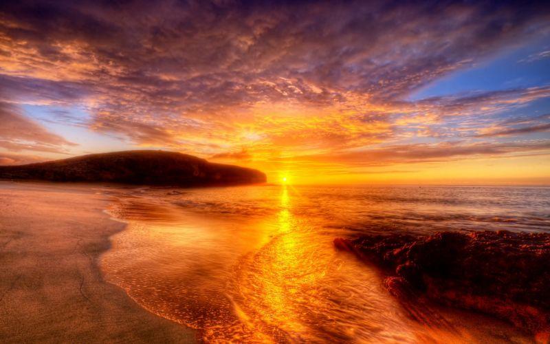 sunset landscapes nature shore beaches wallpaper