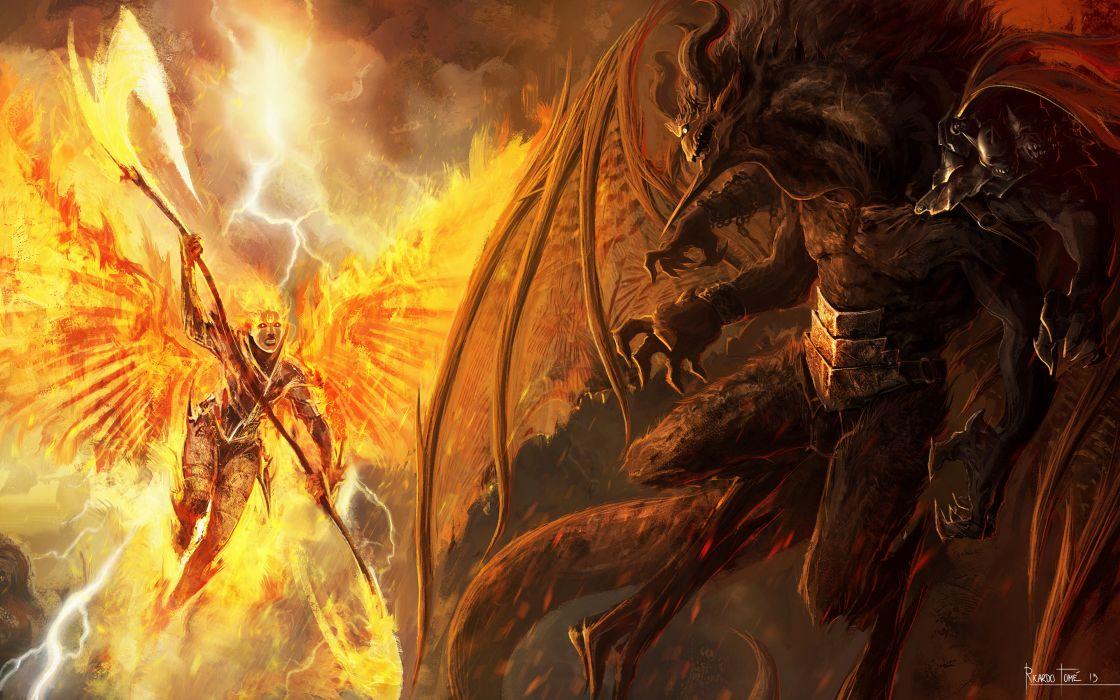 Battle Monster Demons Wings warrior      f wallpaper