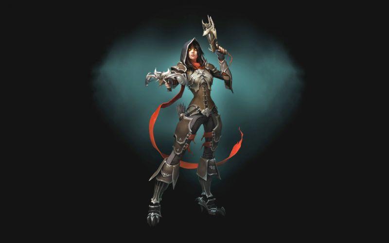 Diablo Warrior Archer Armor Hood headgear Fantasy Girls wallpaper