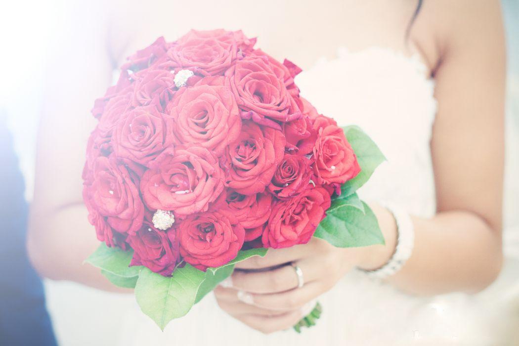 Roses Bouquets Wedding Red Flowers bride moos wallpaper