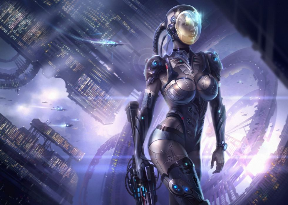 Warrior Girls robot cyborg      f wallpaper