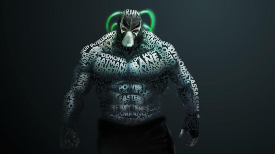 Creative Monster batman bane text typography dark knight movie games wallpaper