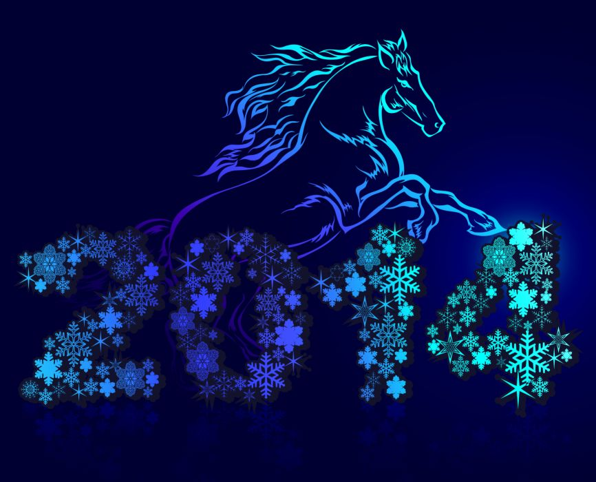 Holidays Christmas ( New year ) Horses 2014 wallpaper