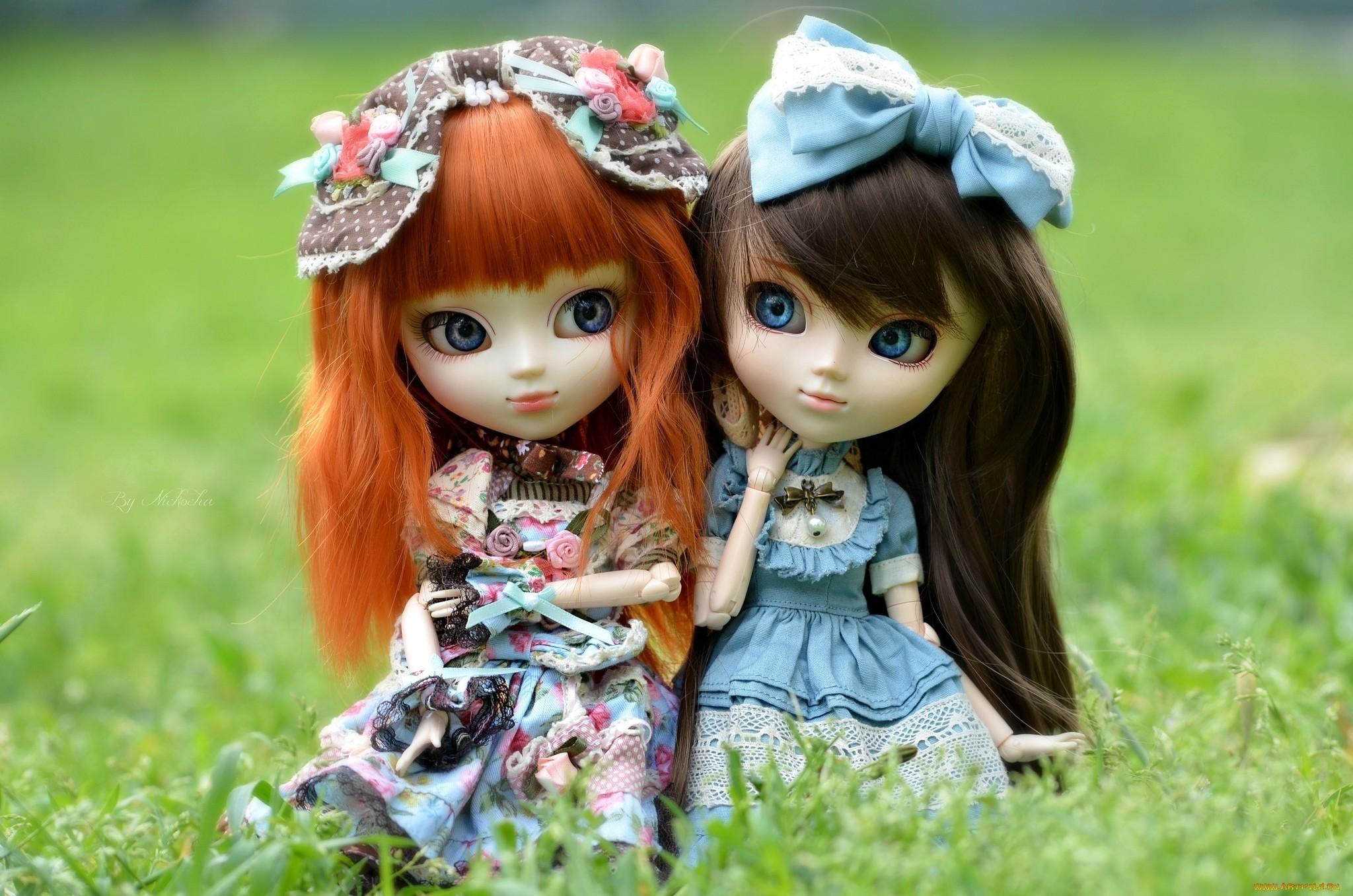 toy doll two dress grass little girls bokeh mood wallpaper
