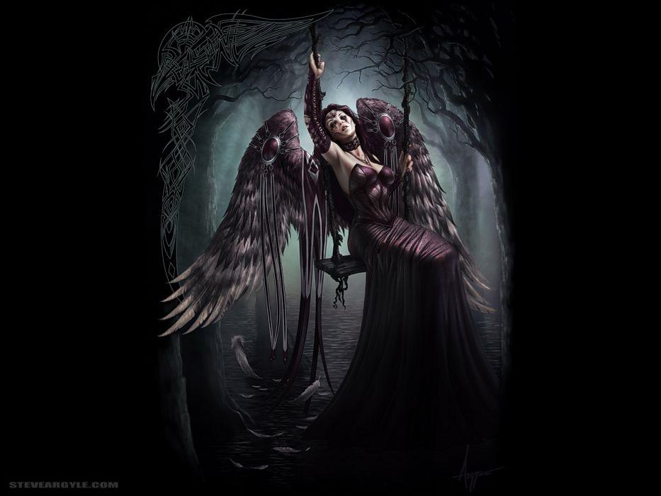 wings trees feathers Gothic fantasy art swings Steve Argyle black background lace gloves gowns wallpaper