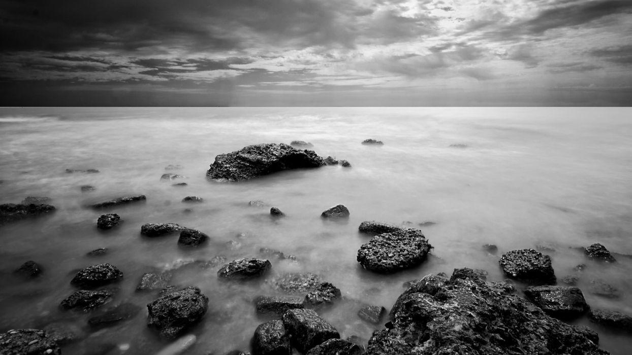 Black And White Landscapes Nature Monochrome Sea Wallpaper