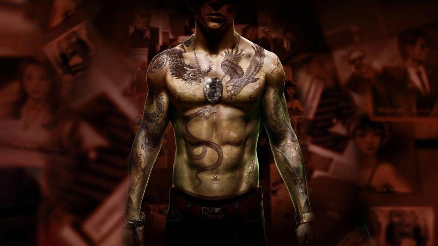 tattoos video games artwork Sleeping Dogs 101 wei shen wallpaper