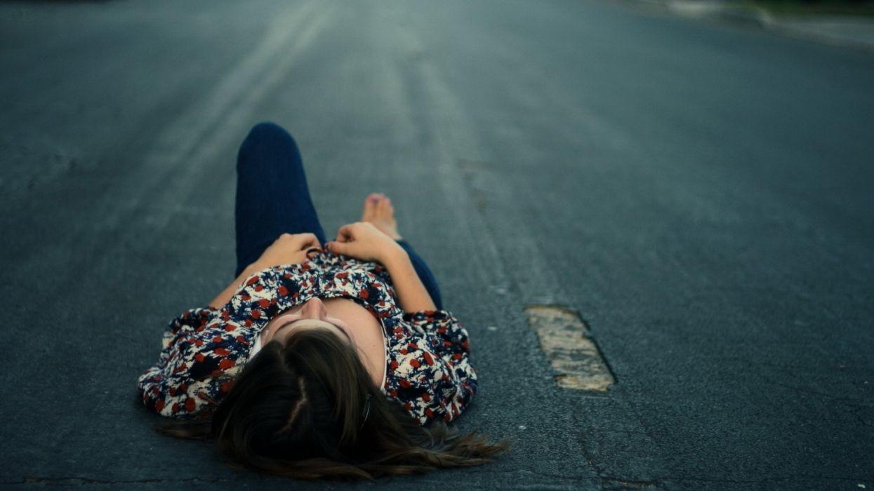 brunettes women jeans hands lying down monochrome Luisana Lopilato greyscale wallpaper