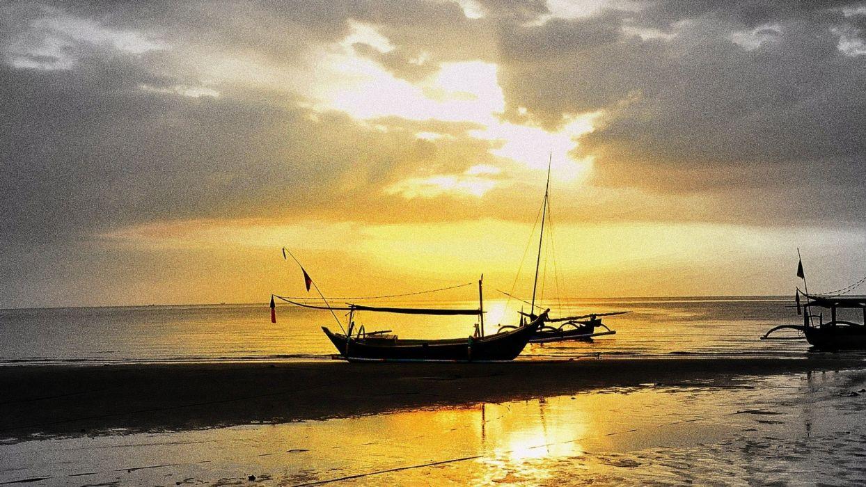 sunset clouds ships sea wallpaper