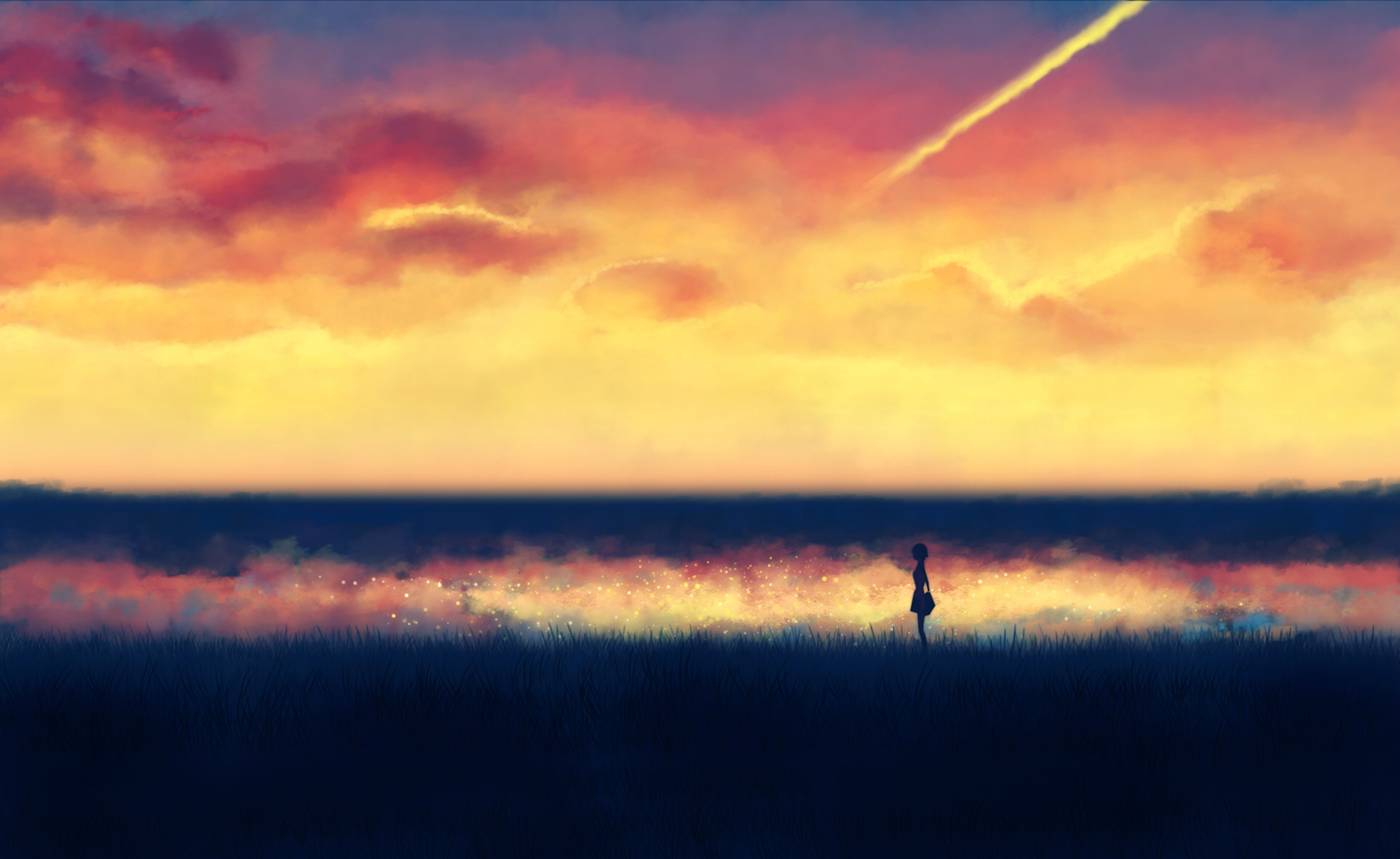 illustrations fantasy art lonely backgrounds anime