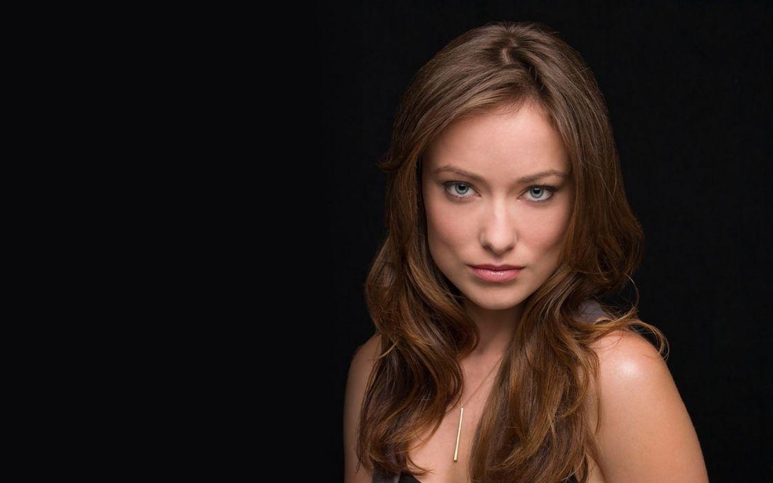 women blue eyes Olivia Wilde long hair simple background wallpaper