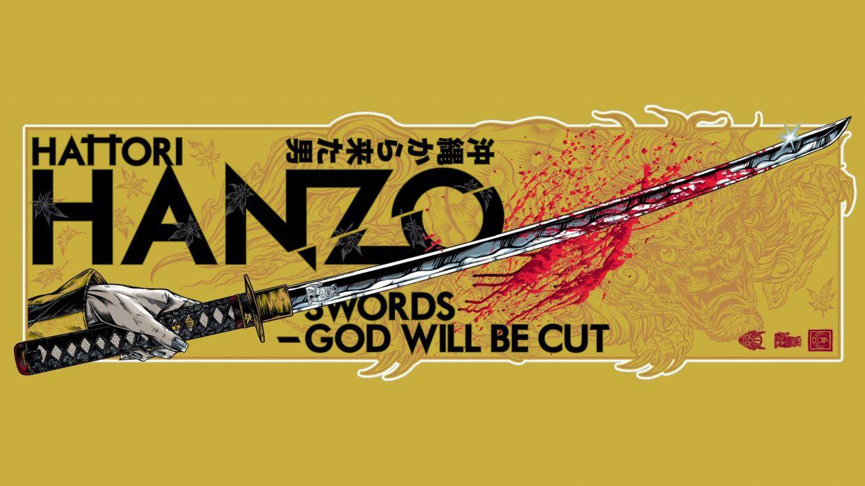 movies Kill Bill Quentin Tarantino swords fan art Hattori Hanzo wallpaper