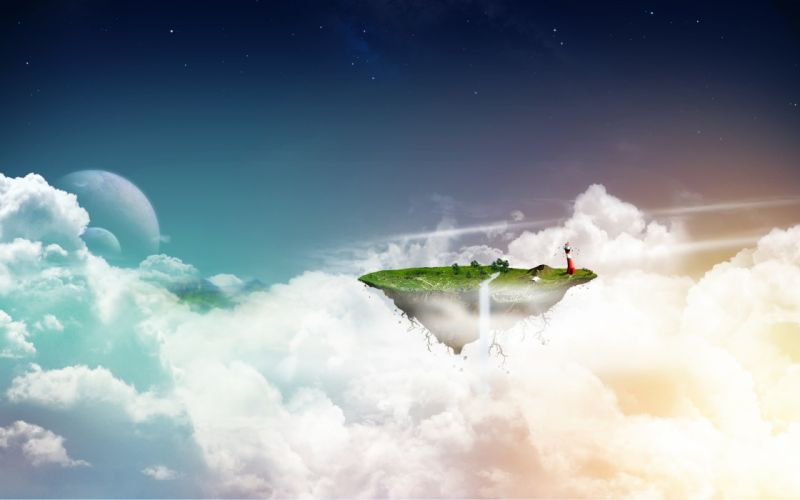 clouds lighthouses fantasy art floating islands waterfalls wallpaper