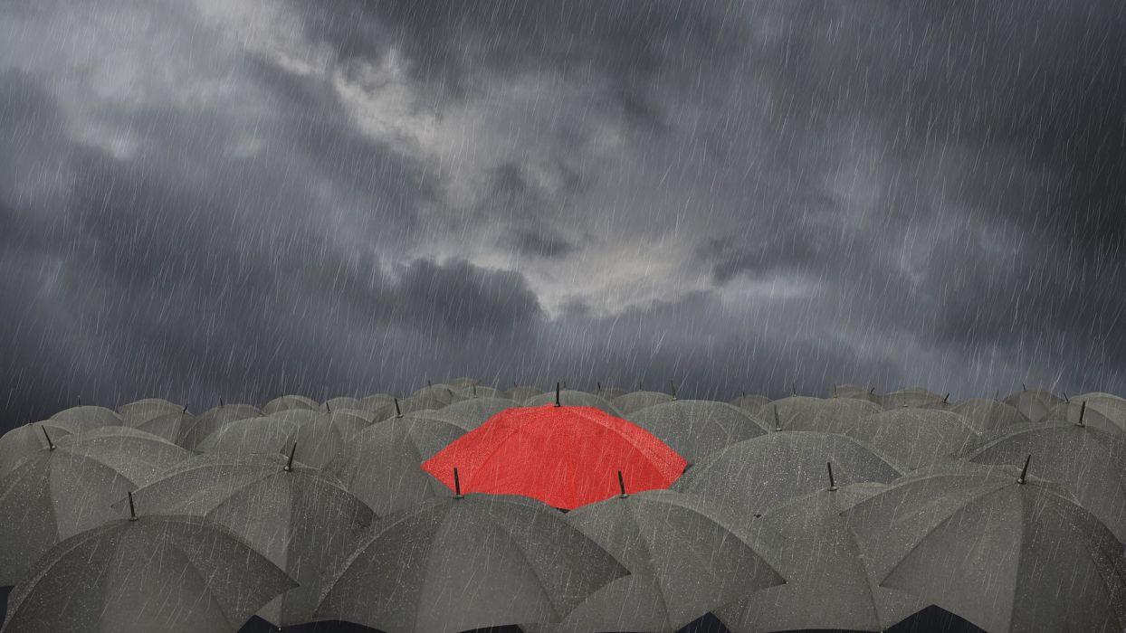 gray selective coloring umbrellas wallpaper