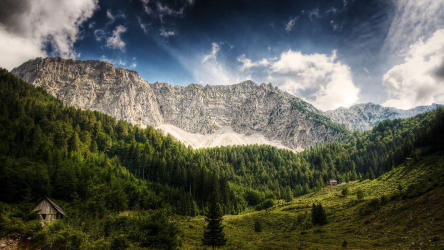 mountains clouds landscapes nature Austria wallpaper