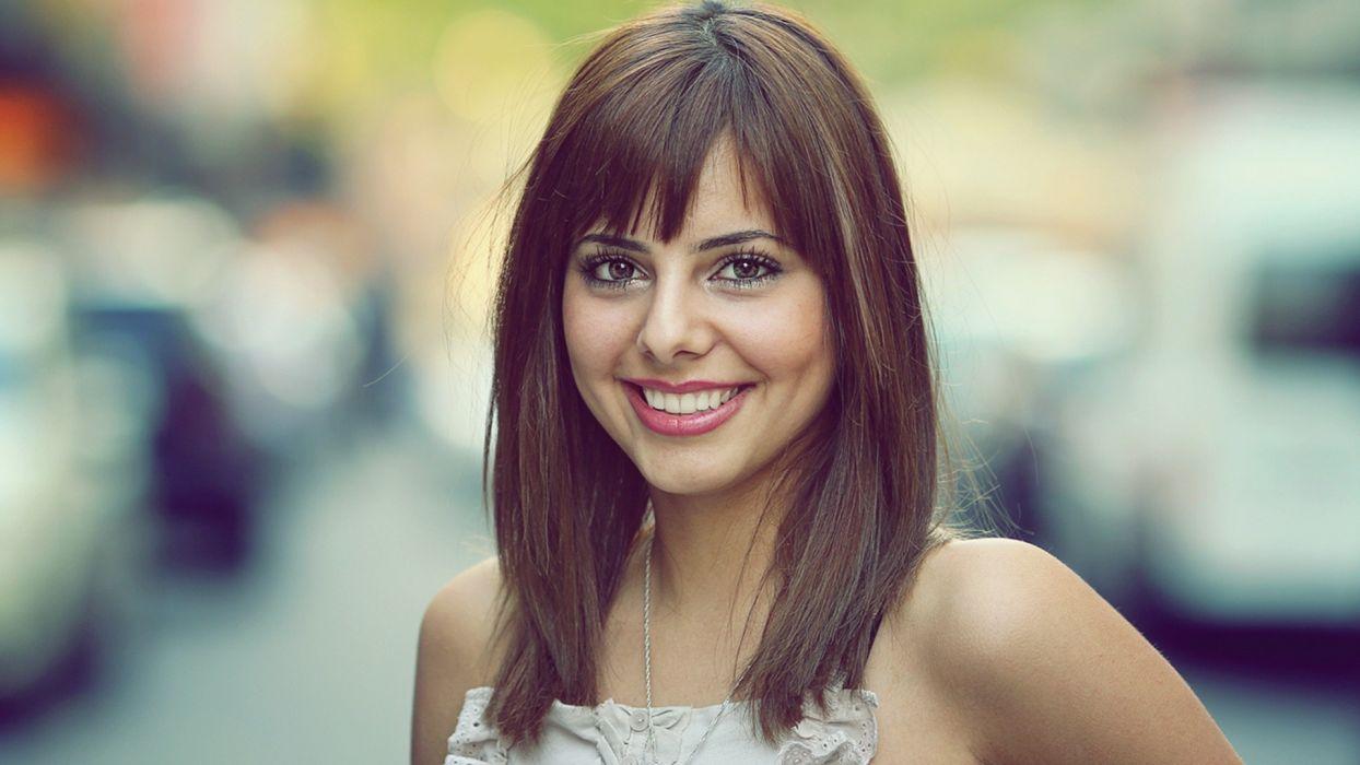 women streets smiling wallpaper