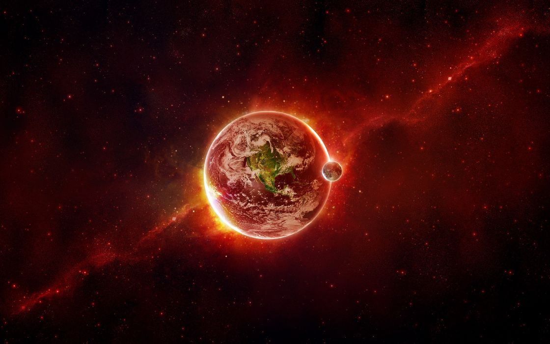 Outer Space Red Planets Earth Artwork Wallpaper