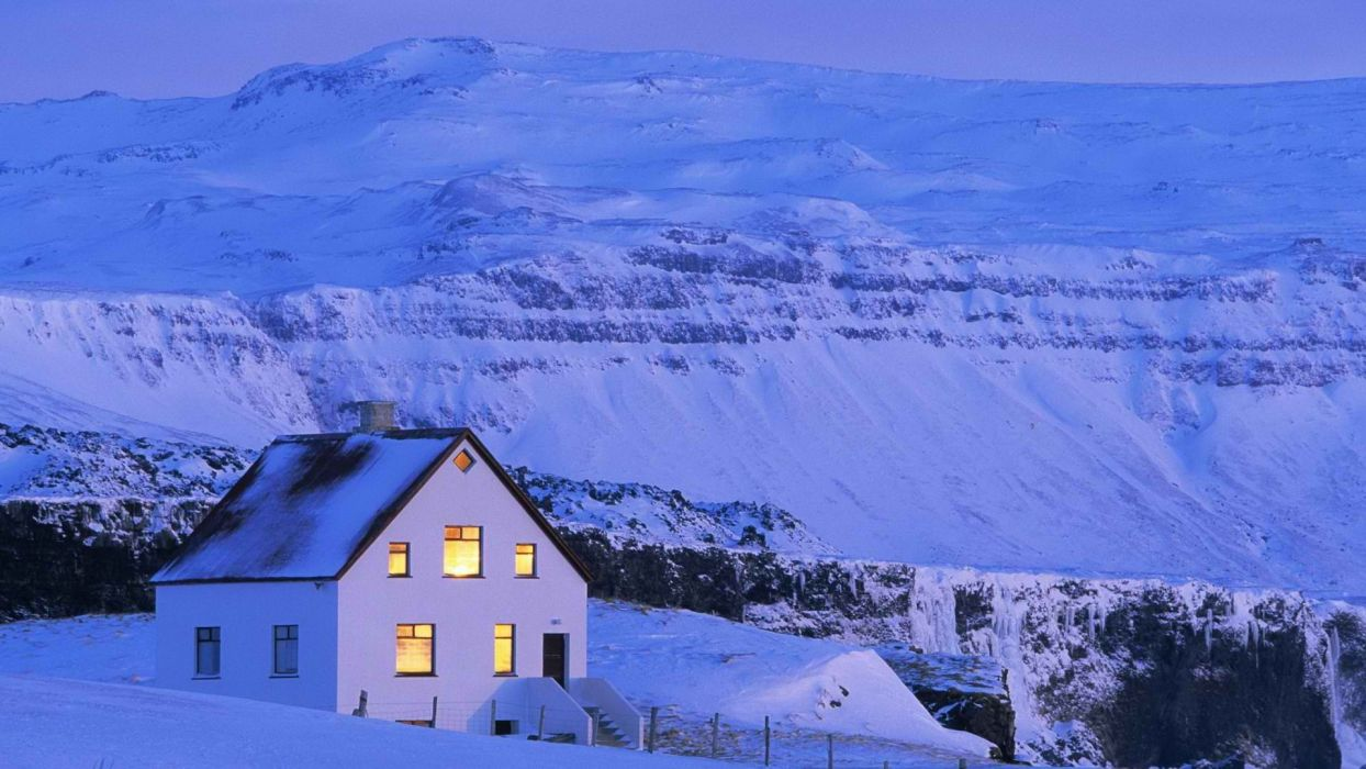mountains landscapes snow home Iceland wallpaper