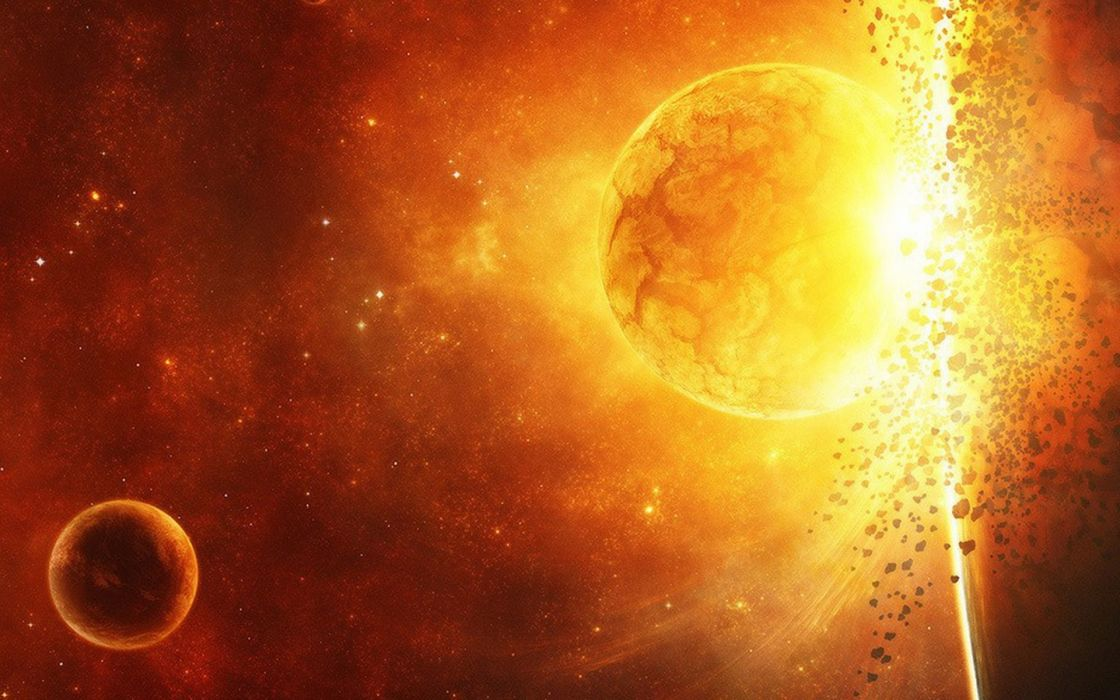 outer space stars planets catastrophe explosion wallpaper