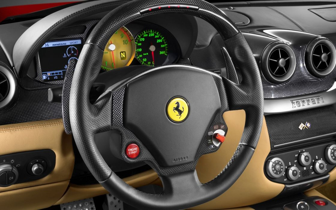 car interiors Ferrari 599 steering wheel wallpaper