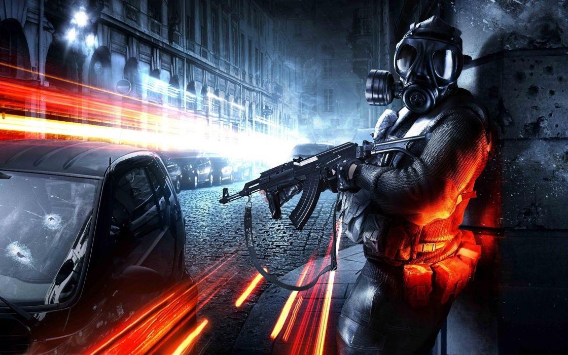 soldiers video games CGI gas masks Battlefield 3 wallpaper