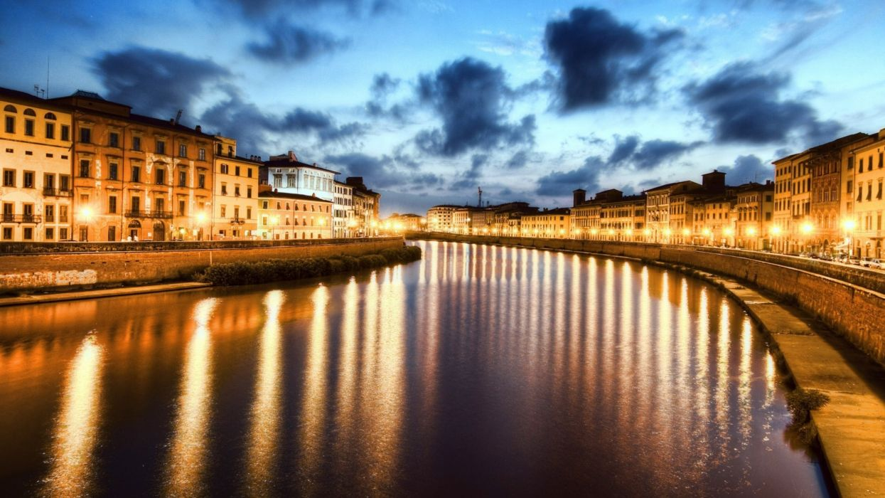 cityscapes night lights Pisa Italy rivers wallpaper
