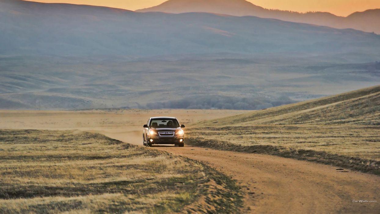 cars roads Subaru Legacy wallpaper