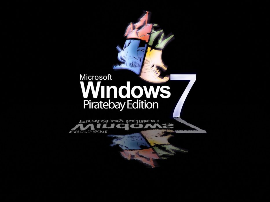 Windows 7 The Pirate Bay black background wallpaper