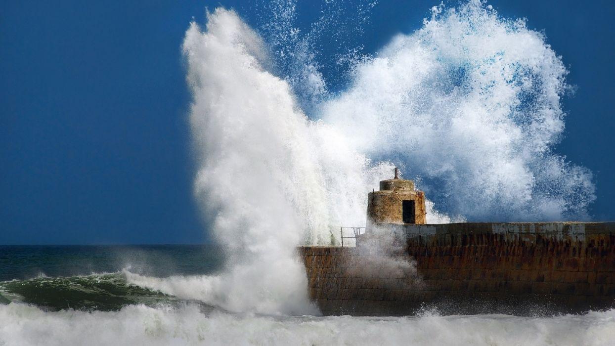 Ocean Storm Piers Breakwater Sea Wallpaper 1920x1080