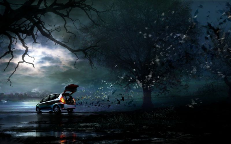 trees night Honda cars advertisement artwork vehicles bats Daniel Dociu wallpaper