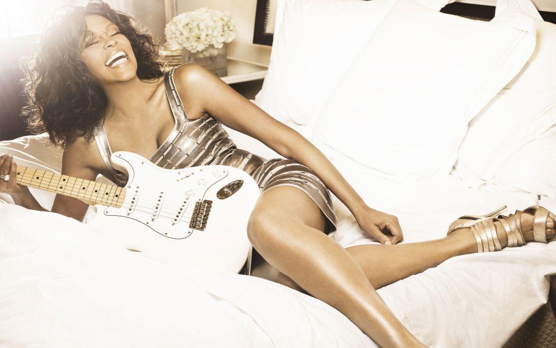 brunettes women guitars singers Whitney Houston wallpaper