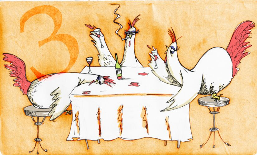 3 French Hens d wallpaper