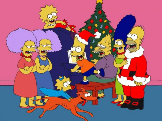 Simpsons Christmas te wallpaper