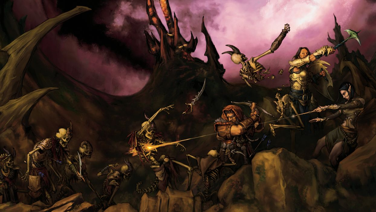 fantasy art skeletons battles wallpaper