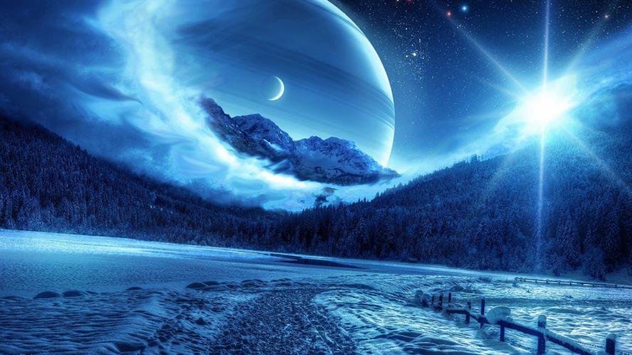 winter forests design fantasy art digital art space creative wallpaper