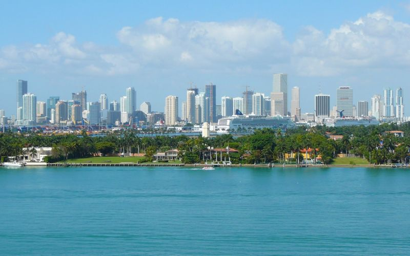 landscapes cityscapes towns skyscrapers Miami city skyline wallpaper