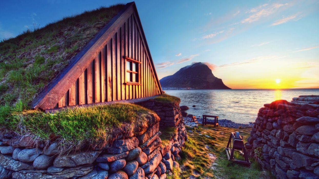 water landscapes Sun houses rocks hut HDR photography turf house wallpaper