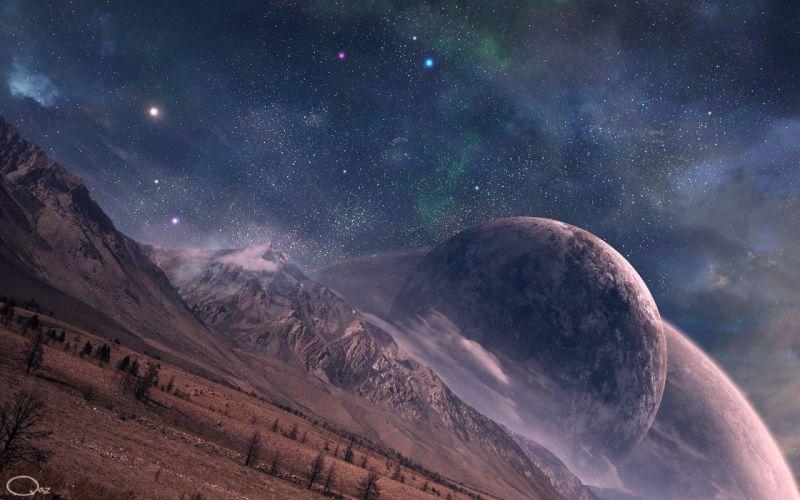 outer space stars planets digital art QAuZ wallpaper