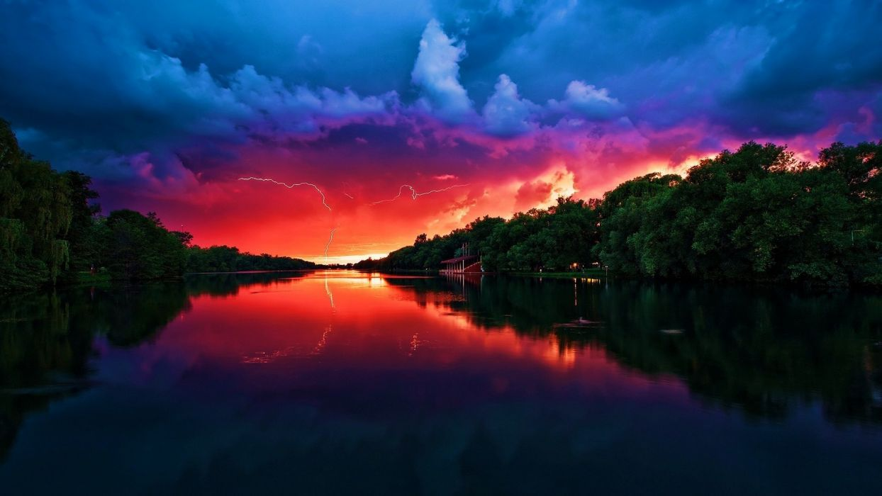 water clouds landscapes trees storm lightning wallpaper