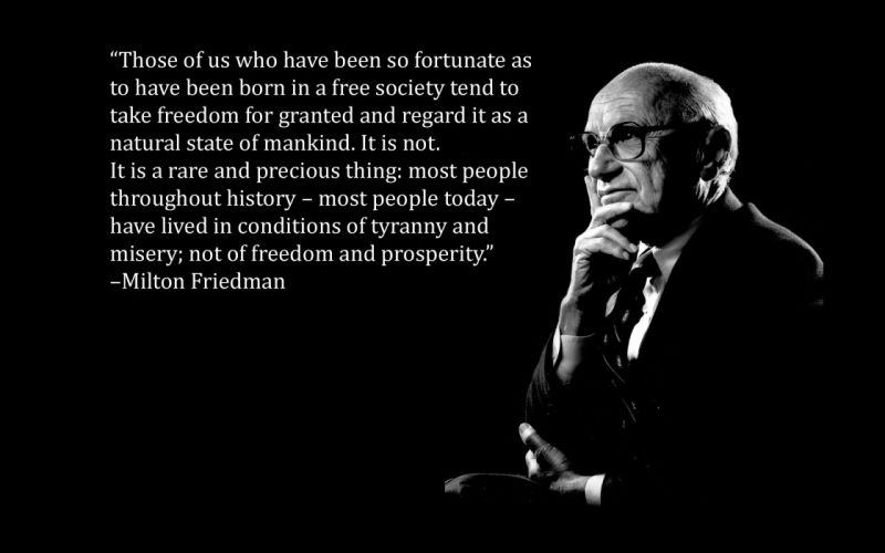 text quotes black background Milton Friedman wallpaper